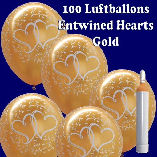 Luftballons zur Hochzeit. Verschlungene Herzen in Gold