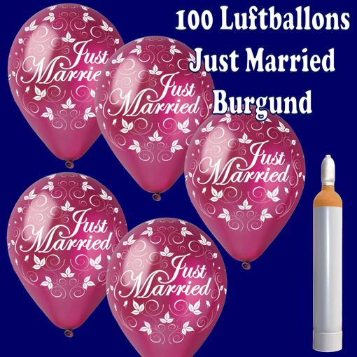 Luftballons zur Hochzeit, Just Married, Burgund, mit Helium
