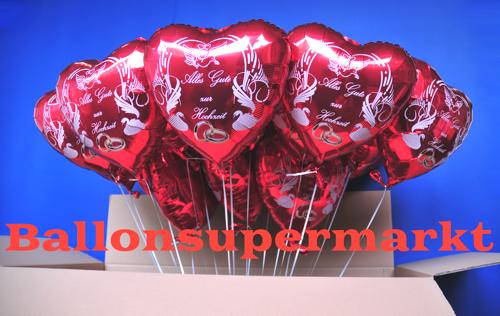 Luftballons zur Hochzeit aus Folie, Alles Gute zur Hochzeit mit Helium